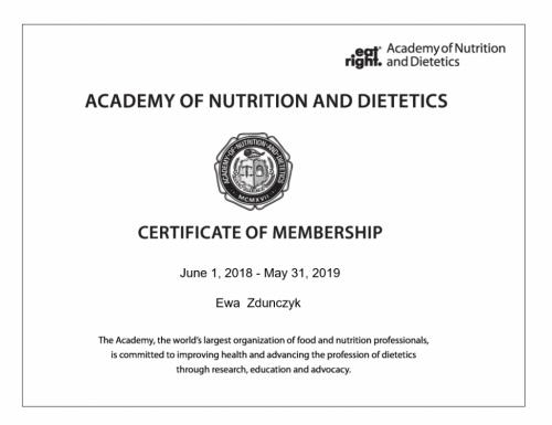 Academy of Nutrition and Dietetics - certyfikat członkostwa 2018-2019