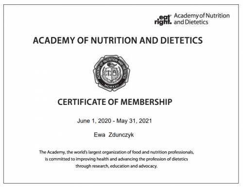 Academy of Nutrition and Dietetics - certyfikat członkostwa 2020-2021