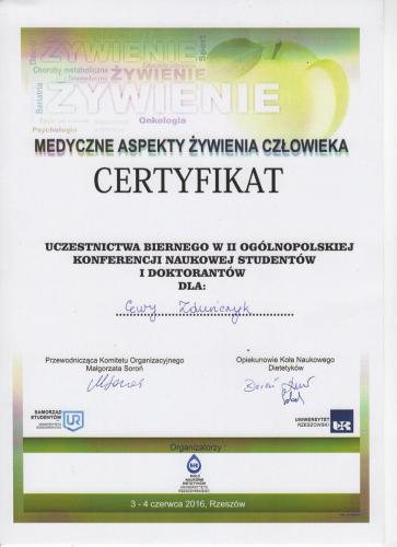 Certyfikat uczestnictwa w konferencji.